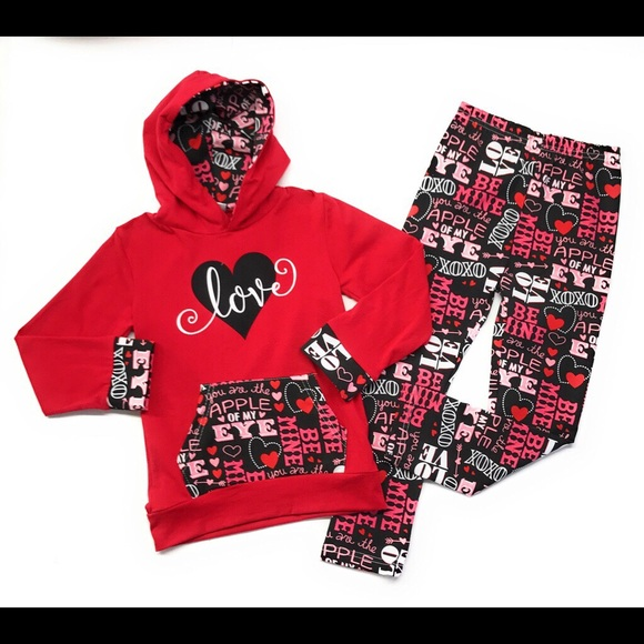 87797b720a4f Toddler Girls Love Hoodie Valentine Outfit